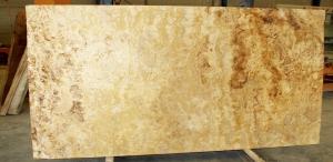 tabla travertino amarillo pulido con resina